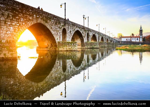 Portugal - North Region - Ponte de Lima & its medieval bridge during Sunset