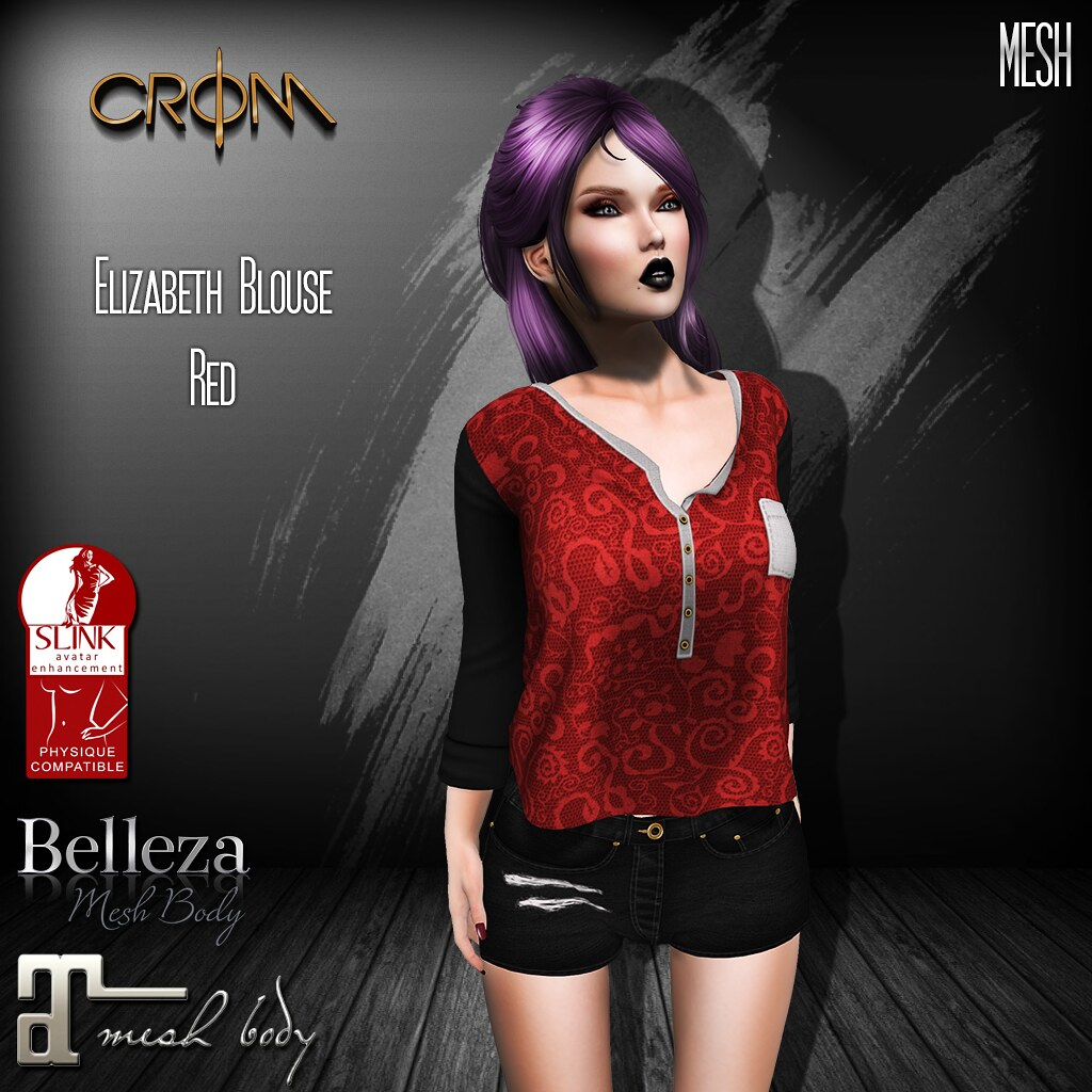 -CroM- Elizabeth Red Blouse - FREE! - SecondLifeHub.com