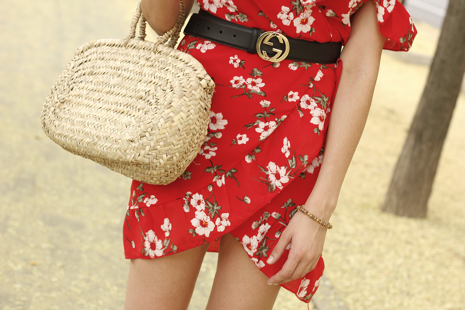 Red flower dress nude heels gucci belt rafia bag style fashion summer08