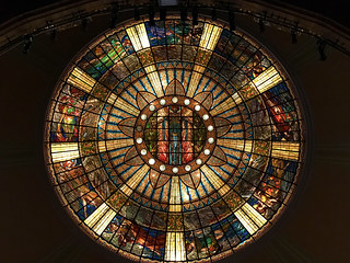 stained glass ceiling, the muses, palace of fine arts