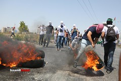 Clashes between university students and occupation forces at the northern entrance of Al-Bireh, Ramallah