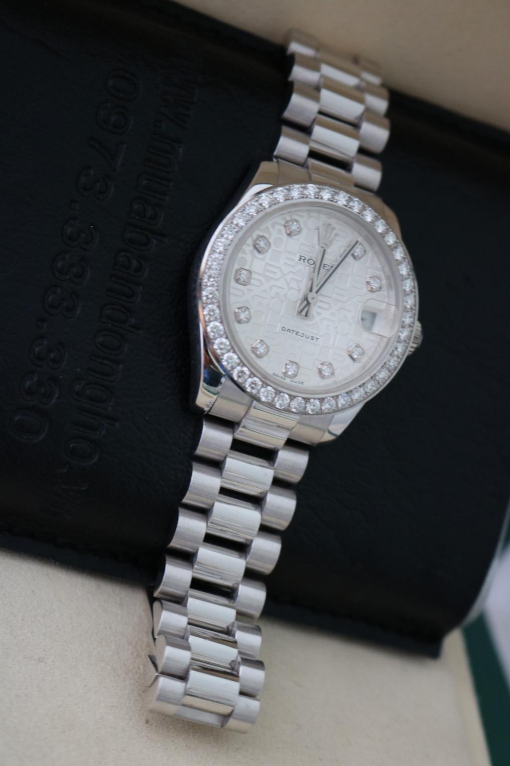 Đồng hồ rolex datejust 6 số Nữ 178279 – Vàng trắng 18k – Mặt vi tính – size 31mm