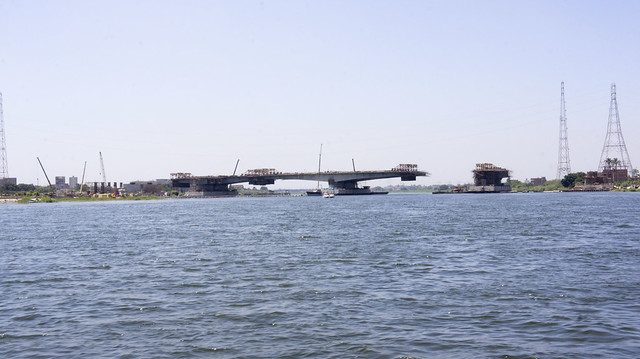The Under-construction bridge on the Nile