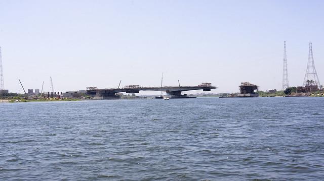 The Under-construction bridge on the Nile