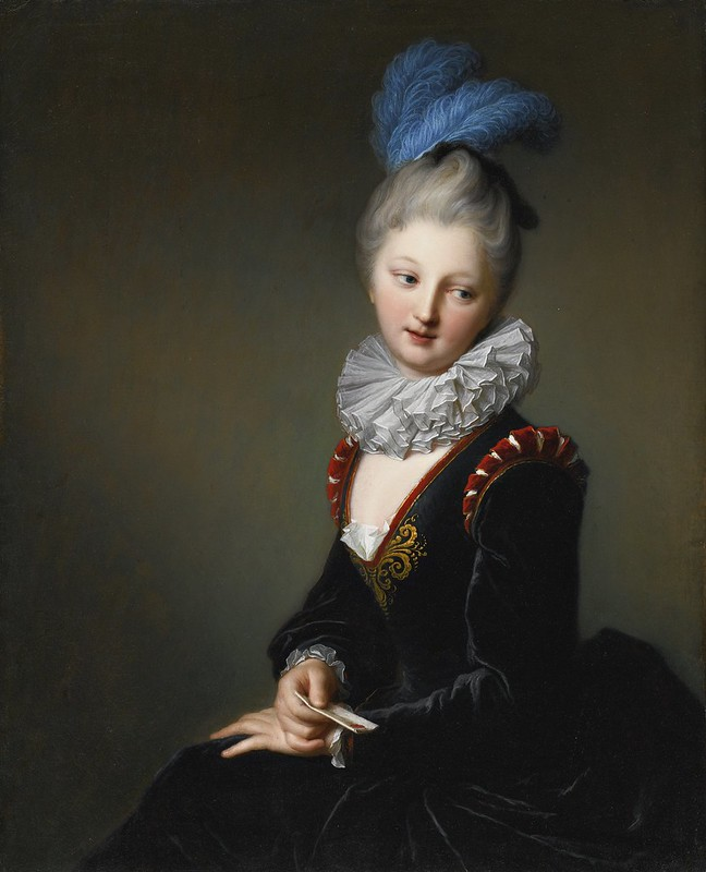 Jean-Baptiste Santerre - Portrait of a young lady with a letter, thought to be Mademoiselle Christine-Antoinette-Charlotte Desmares