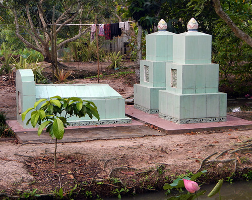 Family tomb amongst the farms of the Mekong Delta, Vietnam