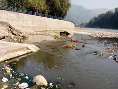 ऋषिकेश में गंगा नदी में गिरता नाला
