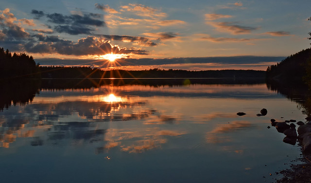 Sunset on the lake. Finland, summer