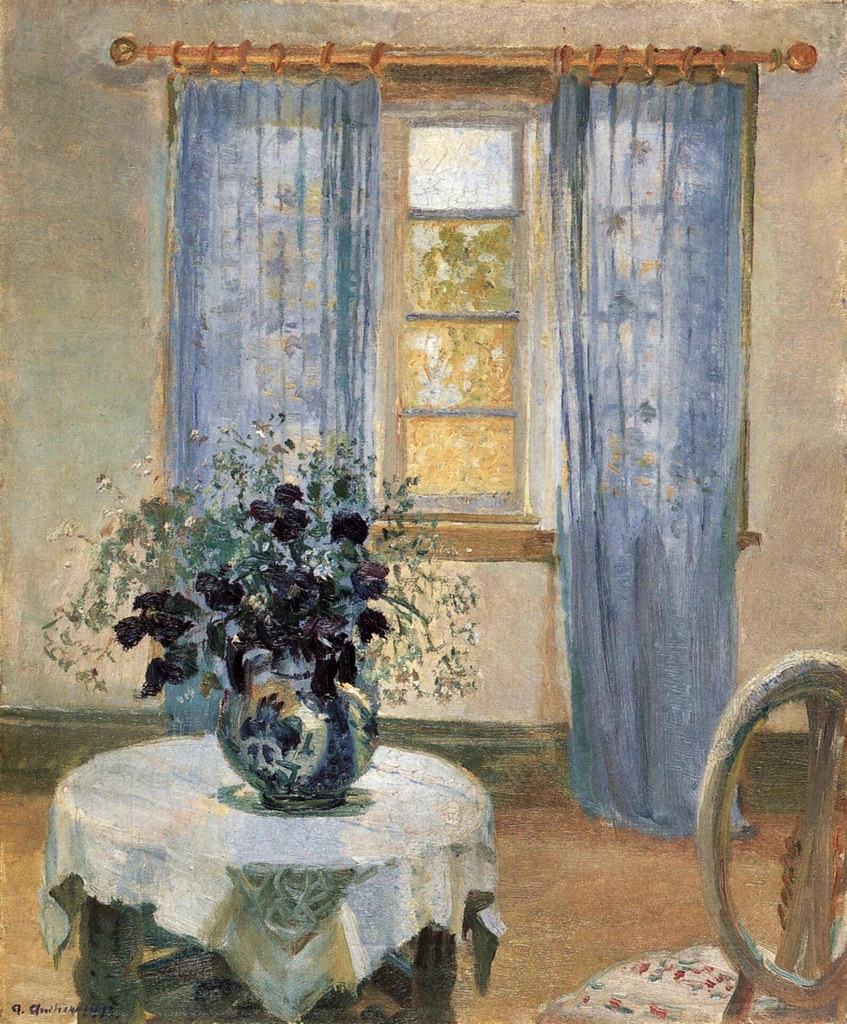 Living room with light blue curtains and blue Clematis, 1913
