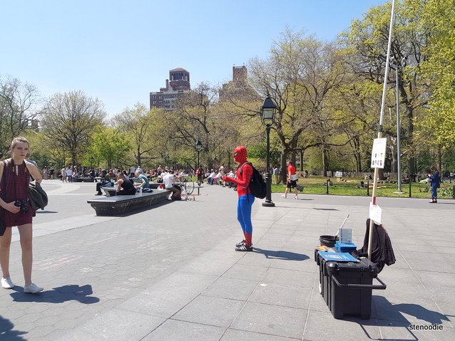 Spiderman gives free hugs
