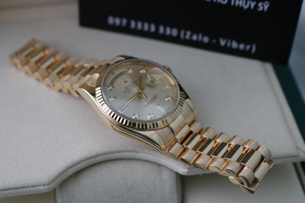 Đồng hồ rolex day date 6 số 118238 – Vàng 18k yellow – mặt xoàn – size 36