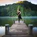 Yoga post on the wooded bridge