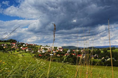 sky clouds sunshine summer grass horizon green fields countryside mountain sunny blue summertime rural hillside field grassy bieszczady polanczyk