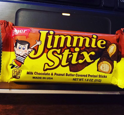 Dessert tonight: Boyer 'Jimmie Stix'!. I like obscure candy bars, and Boyer's Peanut Butter Smoothie (peanut butter cups with a butterscotch shell instead of chocolate) are one of my favorites. #candy #yum