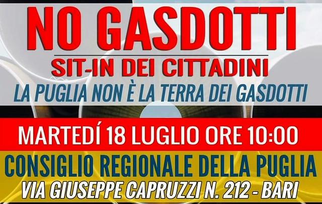 Bari. Sit-in gasdotti intero