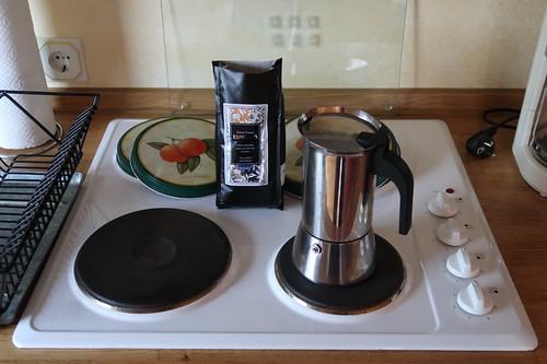 Zubereitung erster Kaffee in unserer Ferienwohnung in Poppenhausen (Wasserkuppe)
