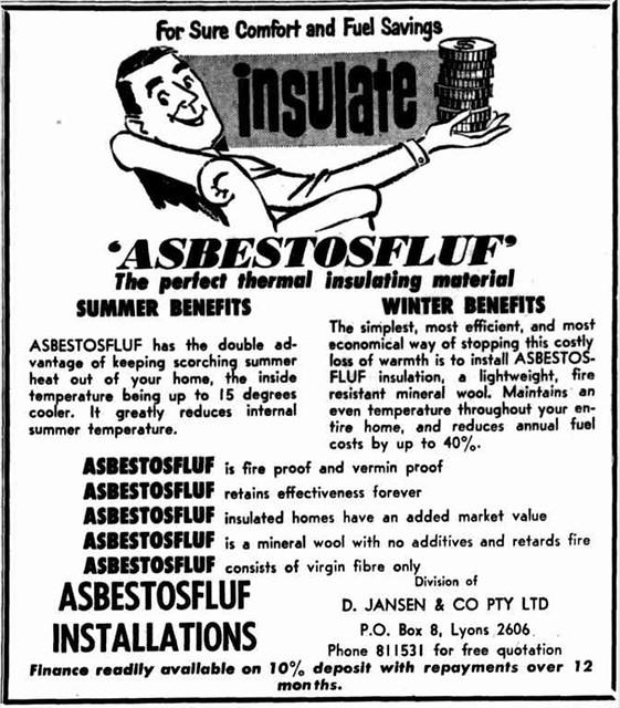 Vintage Asbestos Ad: Asbestosfluf (