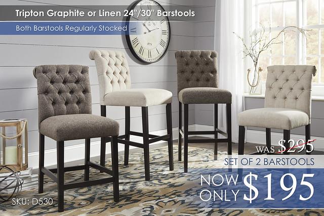Tipton Graphite Linen Barstools D530-124-130-224-230