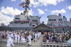 The USS John Finn (DDG 113) crew brings the ship to life during its commissioning ceremony, July 15. (U.S. Navy/MC2 Aiyana Paschal)