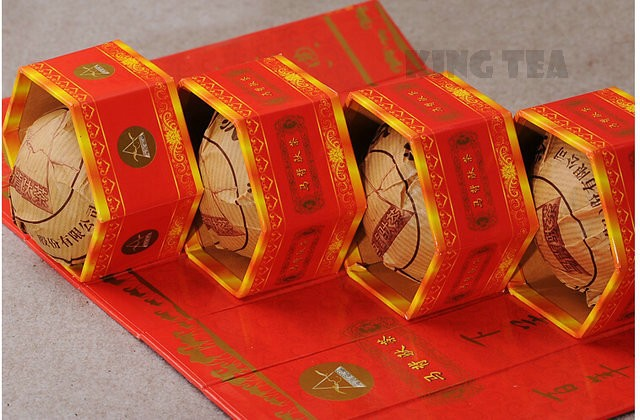 Free Shipping 2006 XiaGuan MaBei Red Boxed Tuo Bowl Nest 100g*5=500g YunNan MengHai Organic Pu'er Raw Tea Weight Loss Slim Beauty Sheng Cha