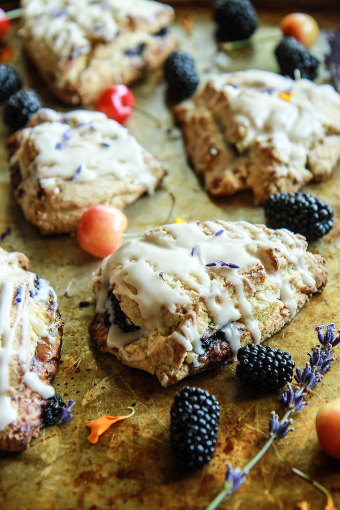Blackberry Cherry Lavender Scones (gluten free and vegan) from HeatherChristo.com