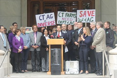 Rep. Dubitsky stands up for CT farmers during a press conference advocating for the continuation of an independent Department of Agriculture.