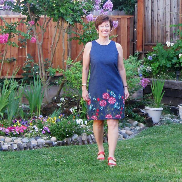 flower denim dress garden square