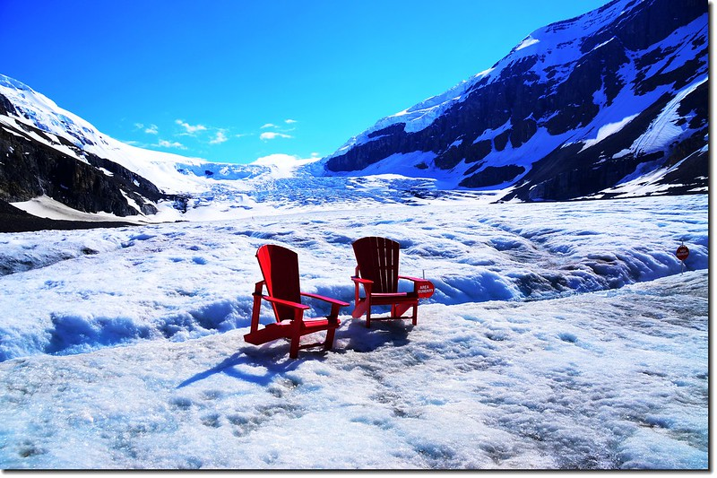 Red chairs On Athabasca Glacier (4)