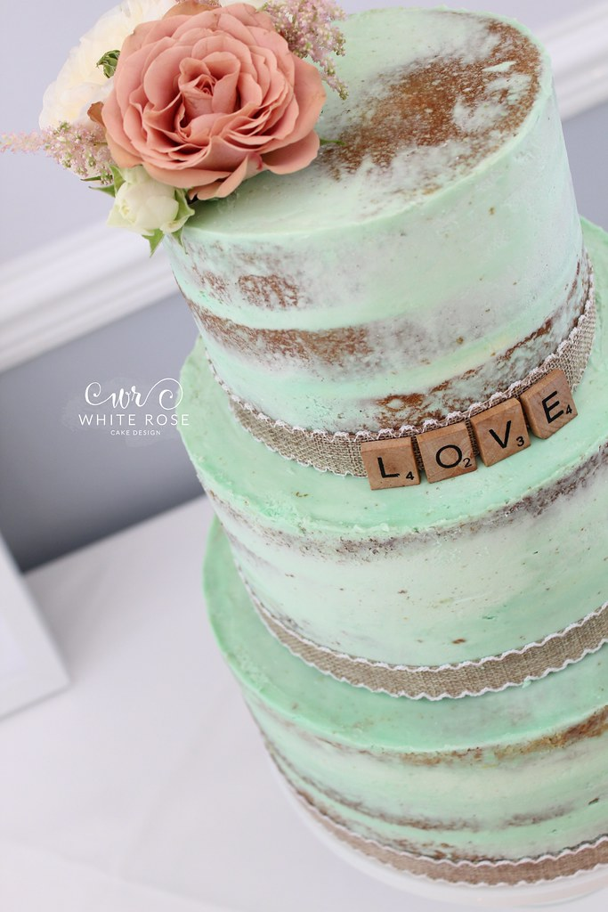 Mint Green Three Tier Semi Naked Wedding Cake With Peach F