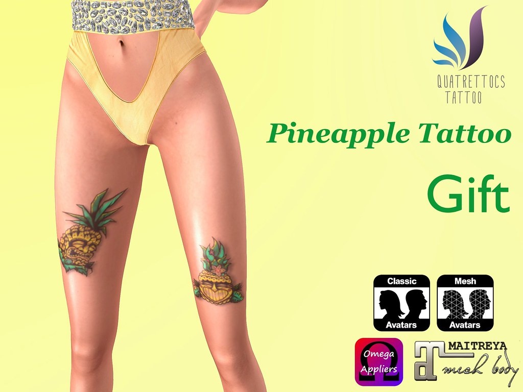 Pineapples Tattoo ? A refreshing gift for August - SecondLifeHub.com