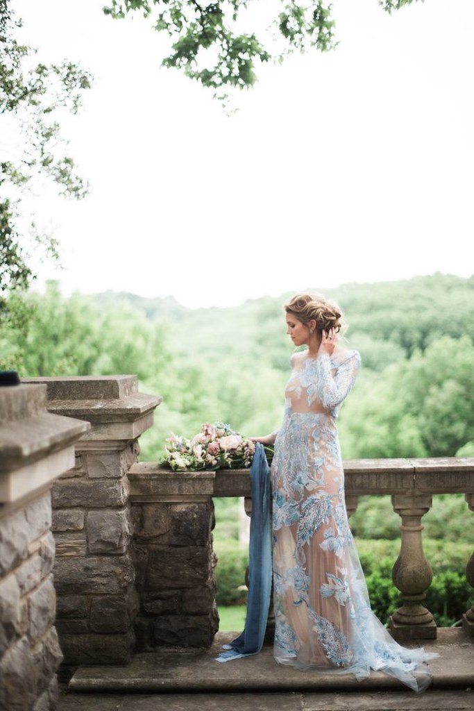 Beautiful Wedding Dresses Inspiration 2017/2018 : Bride in Blue Floral Wedding Dress...