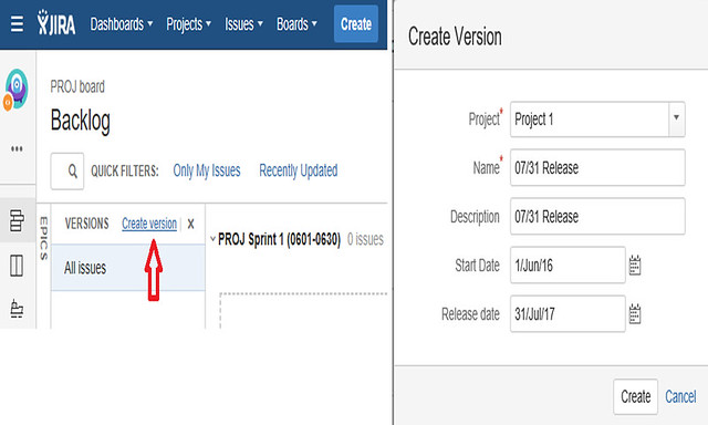 Jira Features - Create Version Details