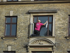 Old school window cleaning with common sense not H & S paranoia