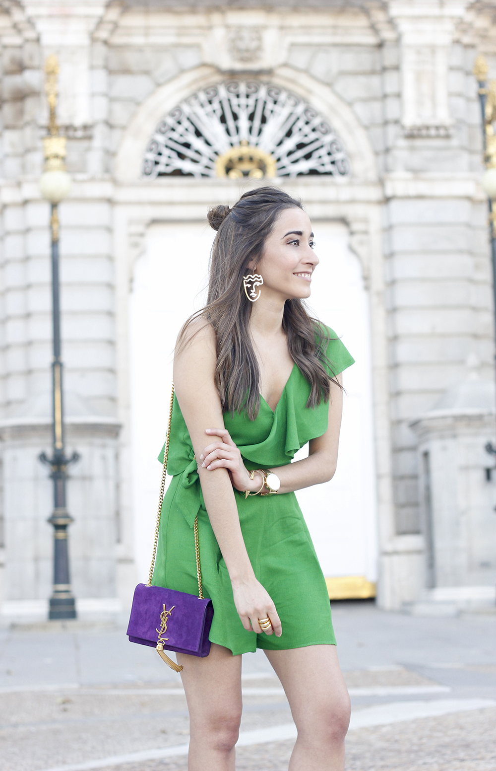 Green jumpsuit ysl bag heels uterqüe accessories summer outfit fashion15
