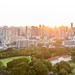 Aerial: Skyline of Singapore during Sundowner
