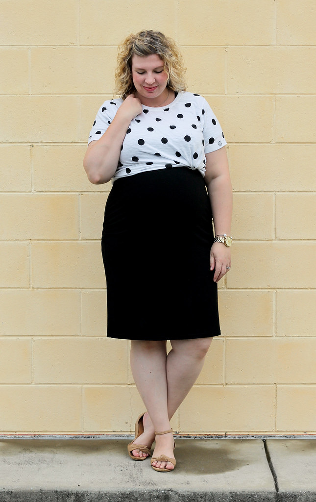 dot dot tee, maternity black dress, wedge sandals 6