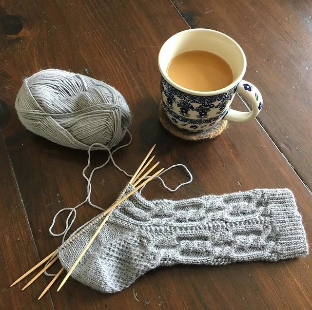 "One more cup and however much knitting that is- then it's go time... ""Go Buy Flowers Time"". #knitting"