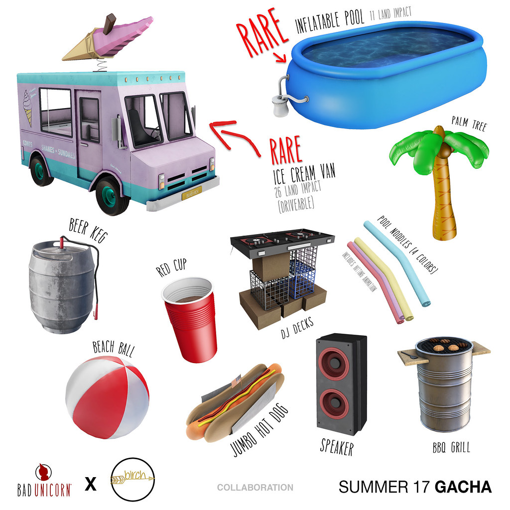 NEW! Bad Unicorn x Birch - Summer 17 Gacha @ Epiphany - SecondLifeHub.com