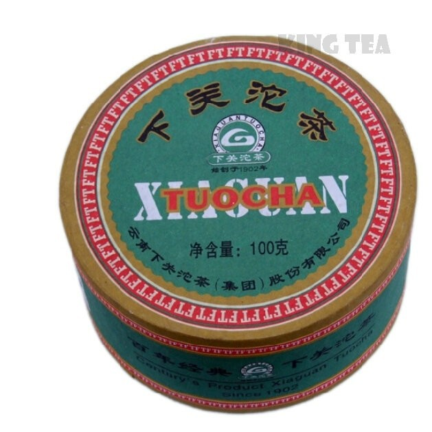 Free Shipping 2008 XiaGuan FT JiaJi Green Boxed Tuo Bowl 100g * 5= 500g YunNan MengHai Organic Pu'er Raw Tea Weight Loss Slim Beauty Sheng Cha