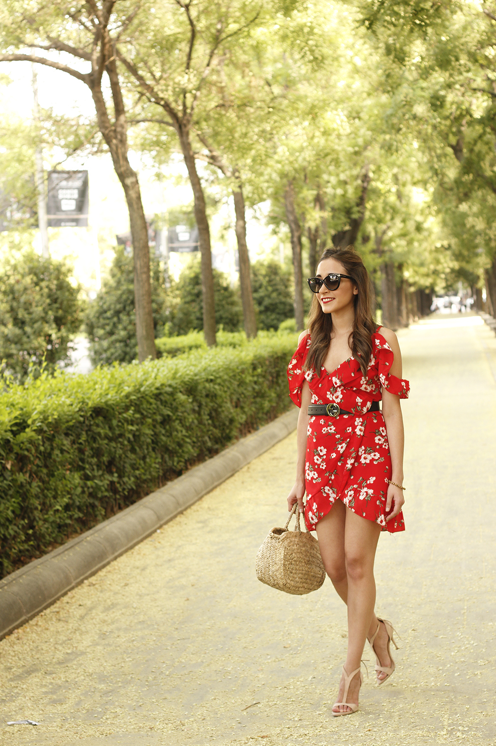 Red flower dress nude heels gucci belt rafia bag style fashion summer13