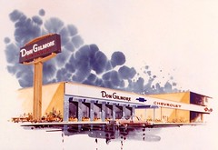 Concept Art for Don Gilmore Chevrolet Signage - Hayward, Calif. - by John Nicolini for Federal Sign - Photo dated April 1964