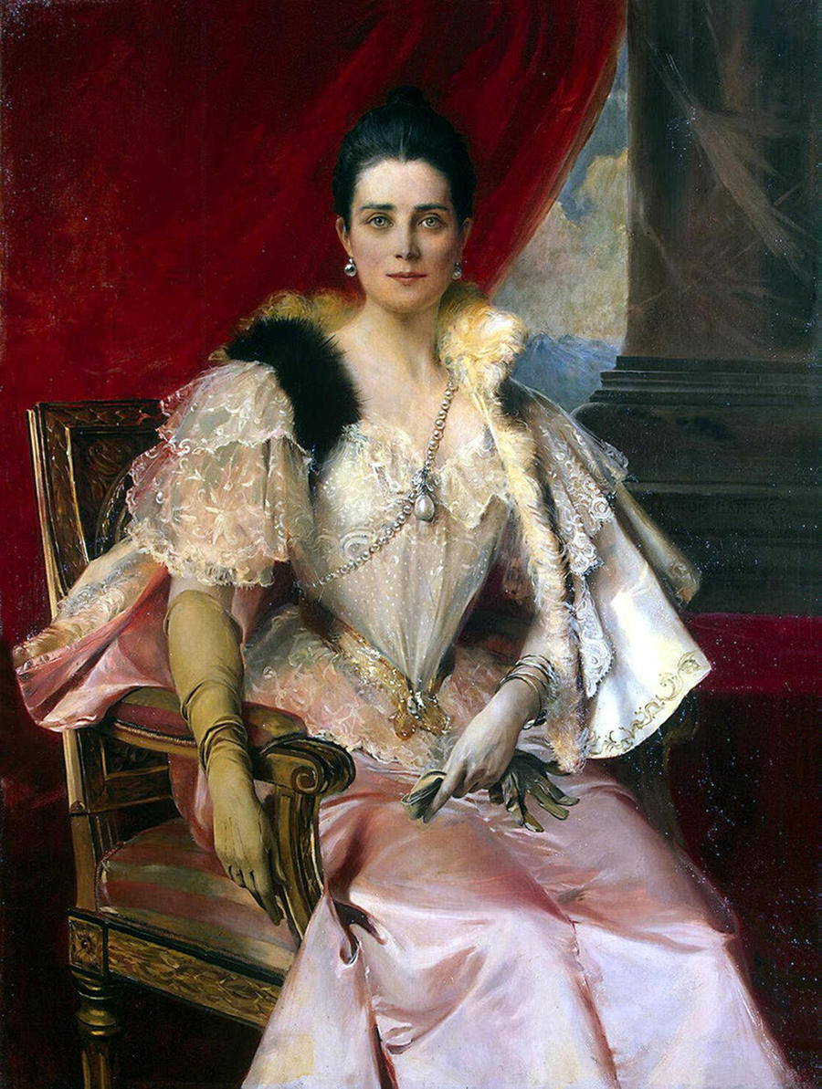 Zinaida Yusupova with the famous Yusupov family La Pelegrina pearl by Francois Flameng - 1894