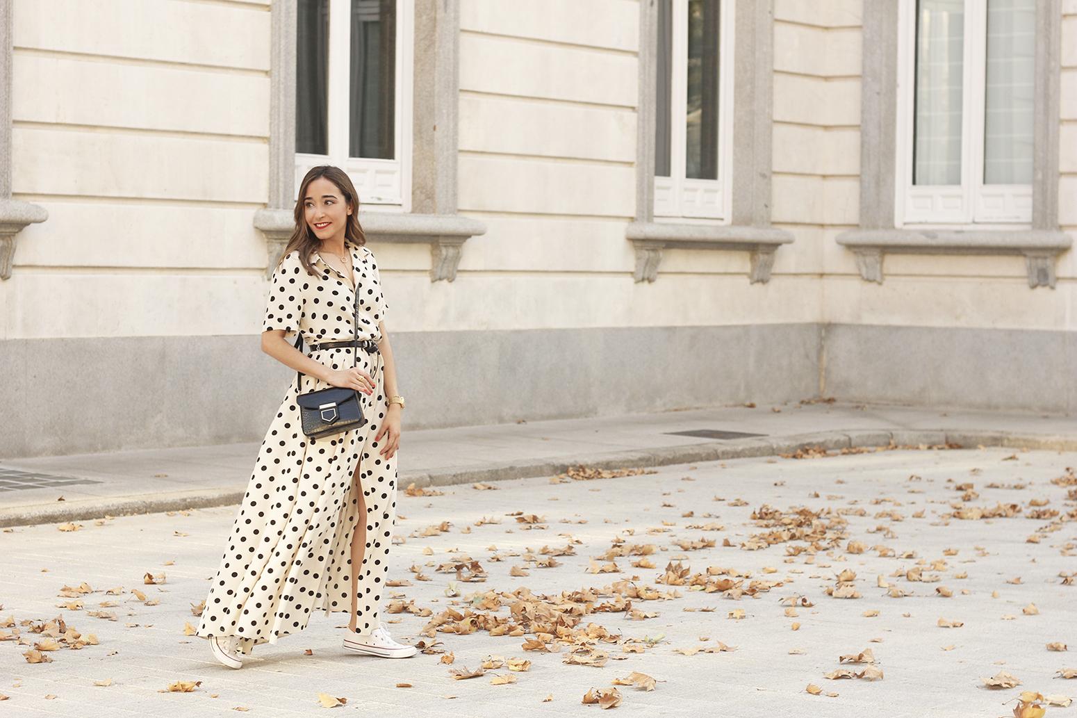 Maxi dress polka dots uterqüe converse givenchy bag summer outfit summer06