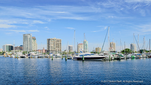 Downtown St. Petersburg's cityscape from the South Yacht Basin in 2015