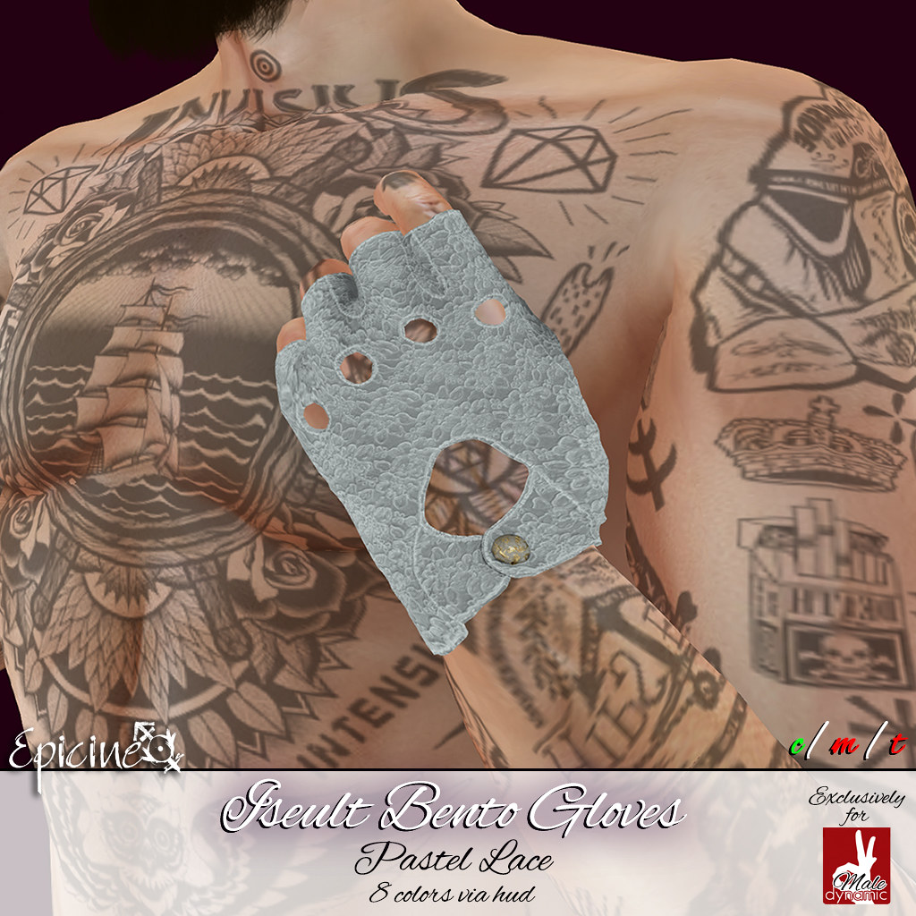 Epicine - Iseult Bento Gloves [SlinkD Male] - Pastel Lace - SecondLifeHub.com