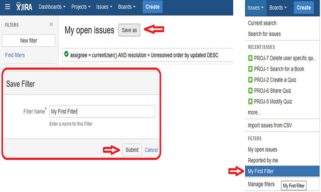 Jira Features - Create Filter
