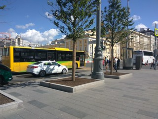 Chinese electric bus at test run in center of Moscow