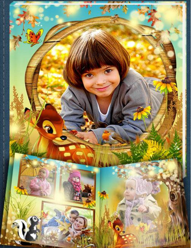 Baby photo album PSD for Photoshop – Bambi and his friends