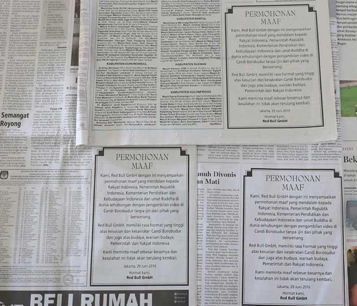 Beberapa media menampilkan permohonan Red Bull GmbH terkait iklan parkour di Candi Borobudur.