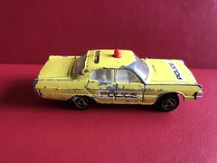 Majorette France - 200 Series Number 216 - Plymouth Fury Yellow Police Car - Miniature Die Cast Metal Scale Model Emergency Services Vehicle